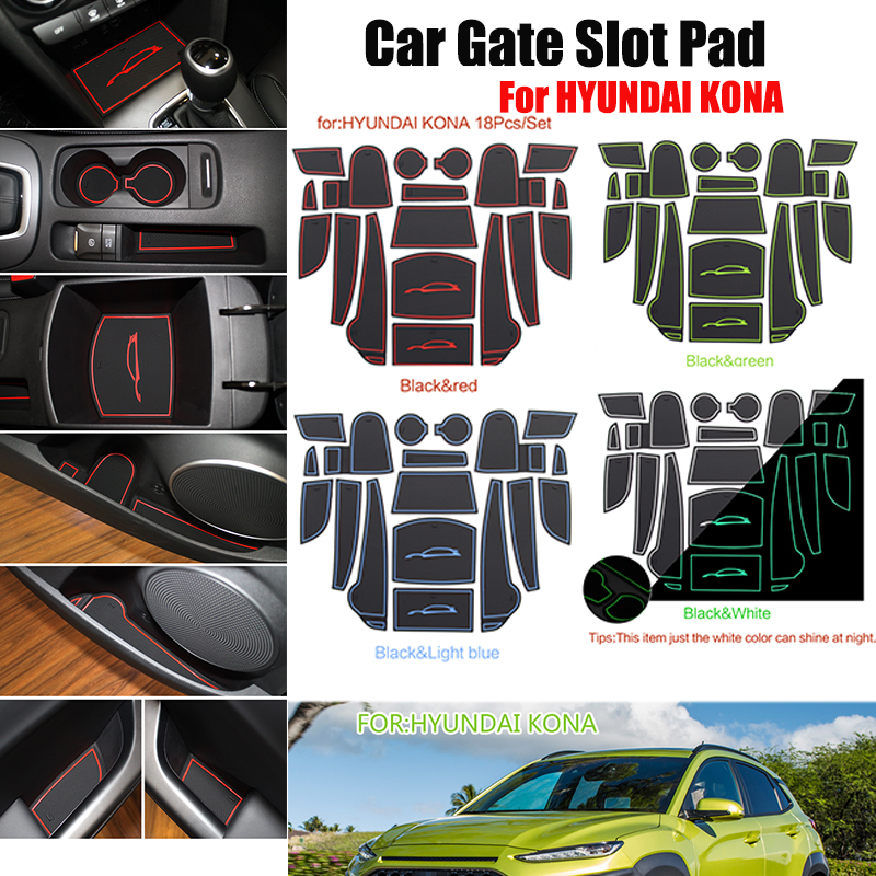 Car Styling 18pcs/set Rubber Car Cup Mat Non-slip Mat Gate Slot Pad Interior Door Pad/Cup Mat For HYUNDAI KONA Red Blue White