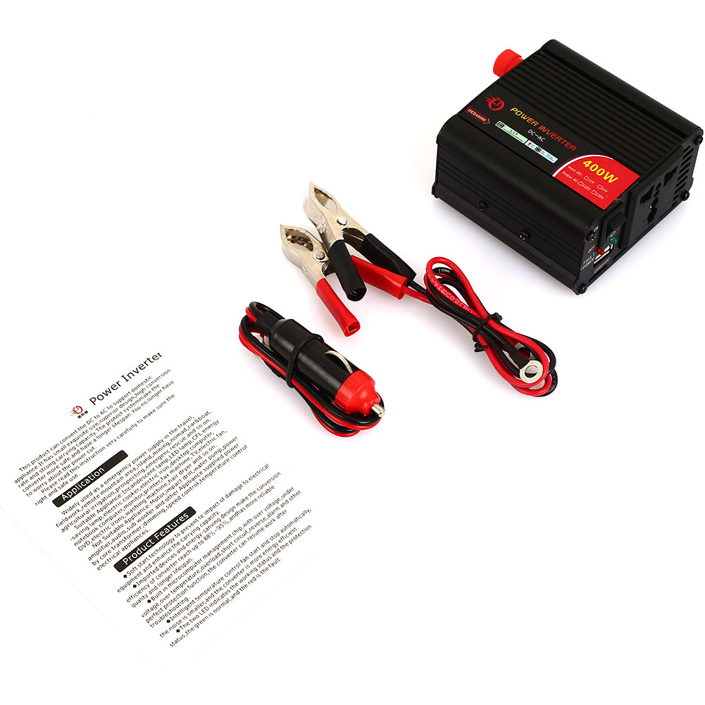 Vehemo 12 В до 220 В 400 Вт автомобильный преобразователь автомобильный инвертор автомобиля фактические трансформатор холодильник Мощность инвертор маленький принтер адаптер
