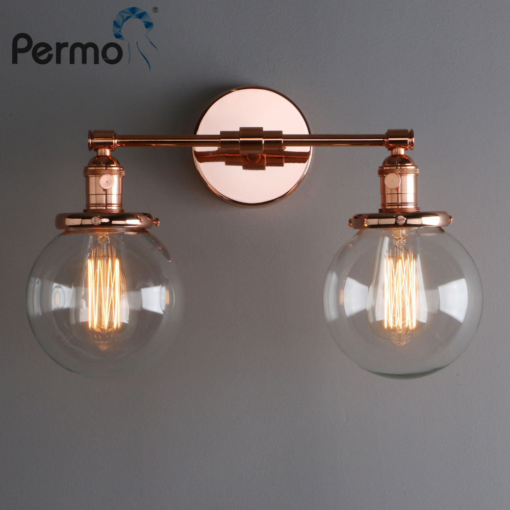 Permo Vintage 5.9'' Glass Ball Shade Loft Globe Glass Double Heads Wall Light Retro Wall Lamp E27 Sconce Fixtures for Home Decor vintage loft double heads marble stone shaded