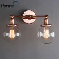Permo Vintage 5.9'' Glass Ball Shade Loft Globe Glass Double Heads Wall Light Retro Wall Lamp E27 Sconce Fixtures for Home Decor