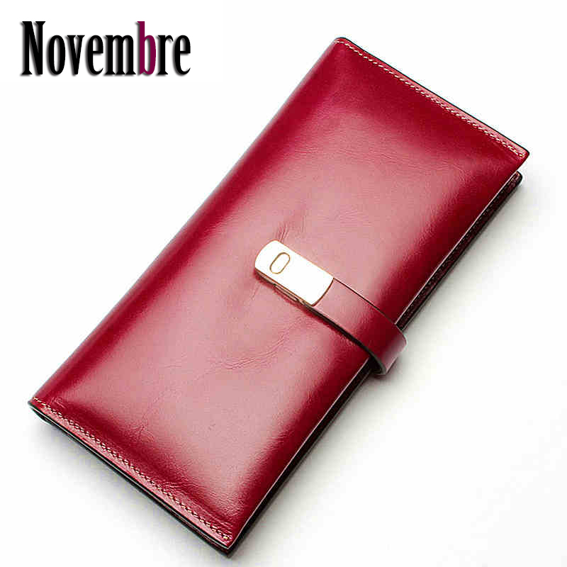 ФОТО 2017 New Fashion Genuine Leather shiny long women's purse women's Wallet wallets women purses visiting cards Bag button ladies
