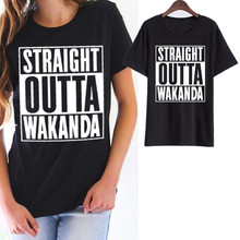 Showtly  Straight Outta Wakanda Womens T-Shirt black panther T shirt Casual Cotton Short Sleeve