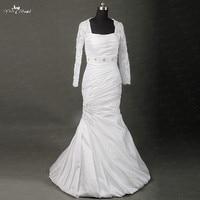RSW862 Yiaibridal Real Job Photos Nigeria Pleated Design Long Sleeves Satin Wedding Dress Mermaid