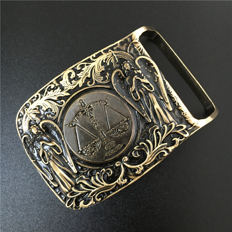 Libra Belt Buckle Solid Brass Cowboy Belt Diy Accessories Men Belts Buckles TOP Quality Mens Belts Luxury Buckle BK0057