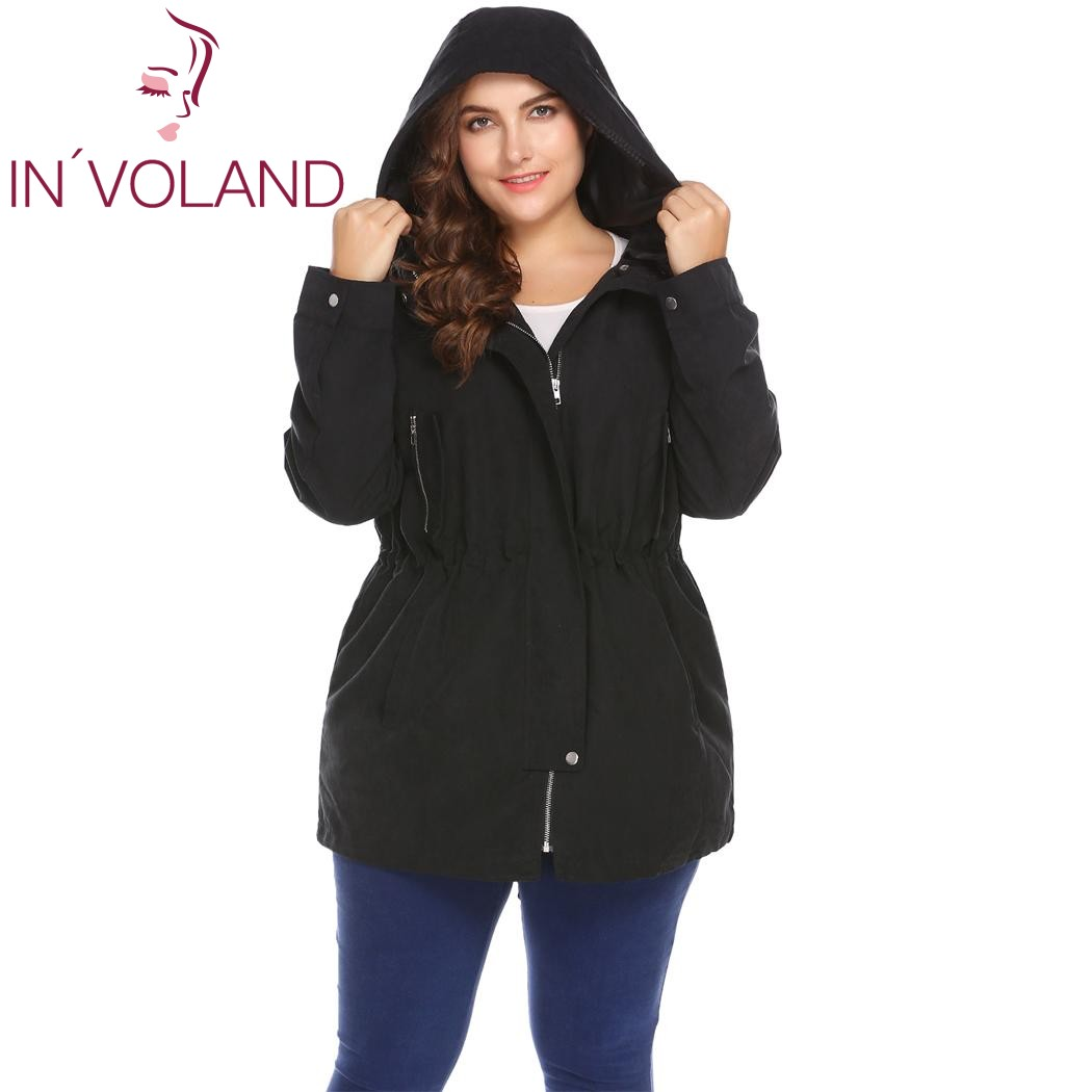 IN'VOLAND Women   Trench   Coat Plus Size XL-5XL Spring Autumn Hooded Long Sleeve Zip-up Solid Large Outerwear Windbreaker Big Size