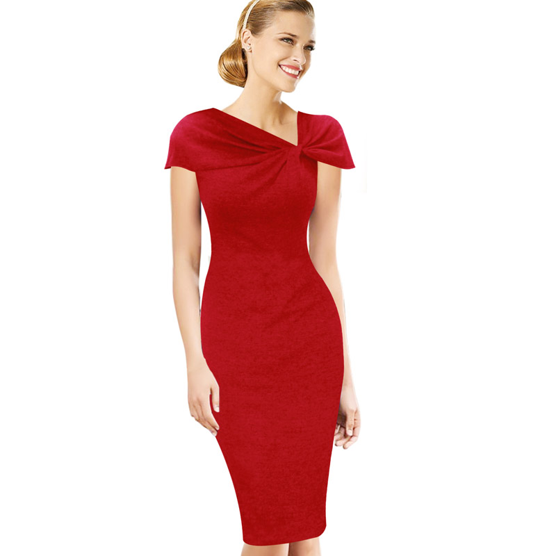 Vfemage Women Elegant Vintage Pinup Bow Ruched Tunic Business Casual Wear To Work Party Stretch Bodycon Pencil Sheath Dress 266