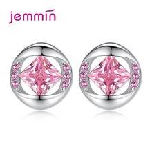 Exquisite 925 Sterling Silver Cubic Zirconia Pink White Stud Earrings For Women  Piercing Wedding Party Jewelry