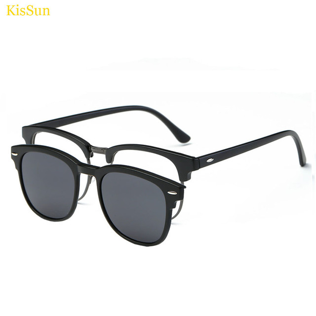 6fa81e17e0 Rectangle Style Magnetic Clip on Sunglasses Male Magnetic Clip on Men  Sunglasses Transparent Glass Frame Eyeglasses