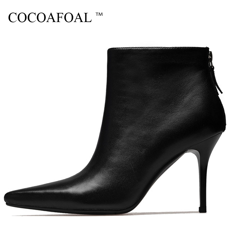 COCOAFOAL Woman High Heel Ankle Boots Autumn Winter Genuine Leather Shoes Black Beige Fashion Sexy Cow Leather Pointed Toe Boots cocoafoal woamn patent leather sandals fashion heel height black white wedding shoes sexy genuine leather pointed toe sandals