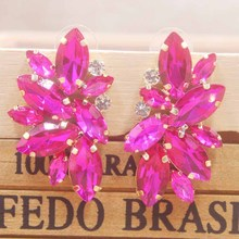 delicate gold crystal earring silver rose blue/red/ wedding /party  colorful Zerong rhinestone deoration