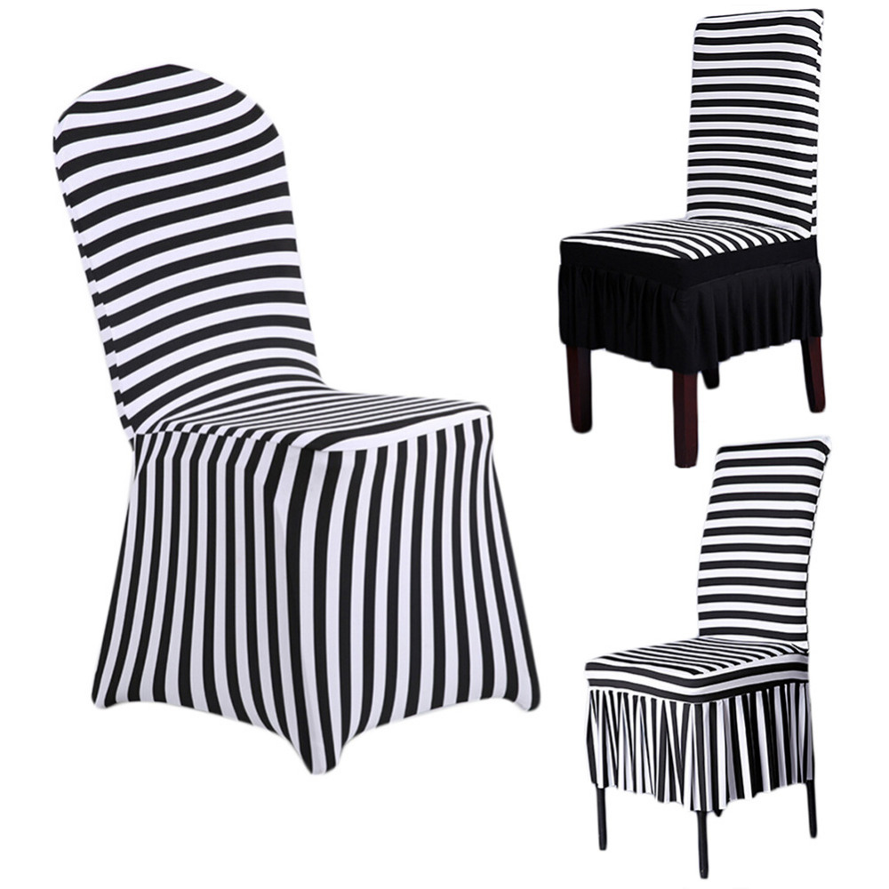 Universal Black White Stripes Stretch Chair Cover Polyester Spandex Covers For Home Dining Party Wedding