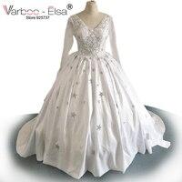 Gorgeous Sheer Ball Gown Wedding Dresses 2017 Puffy 5 Stars Crystal Shiny White Long Sleeve Arab