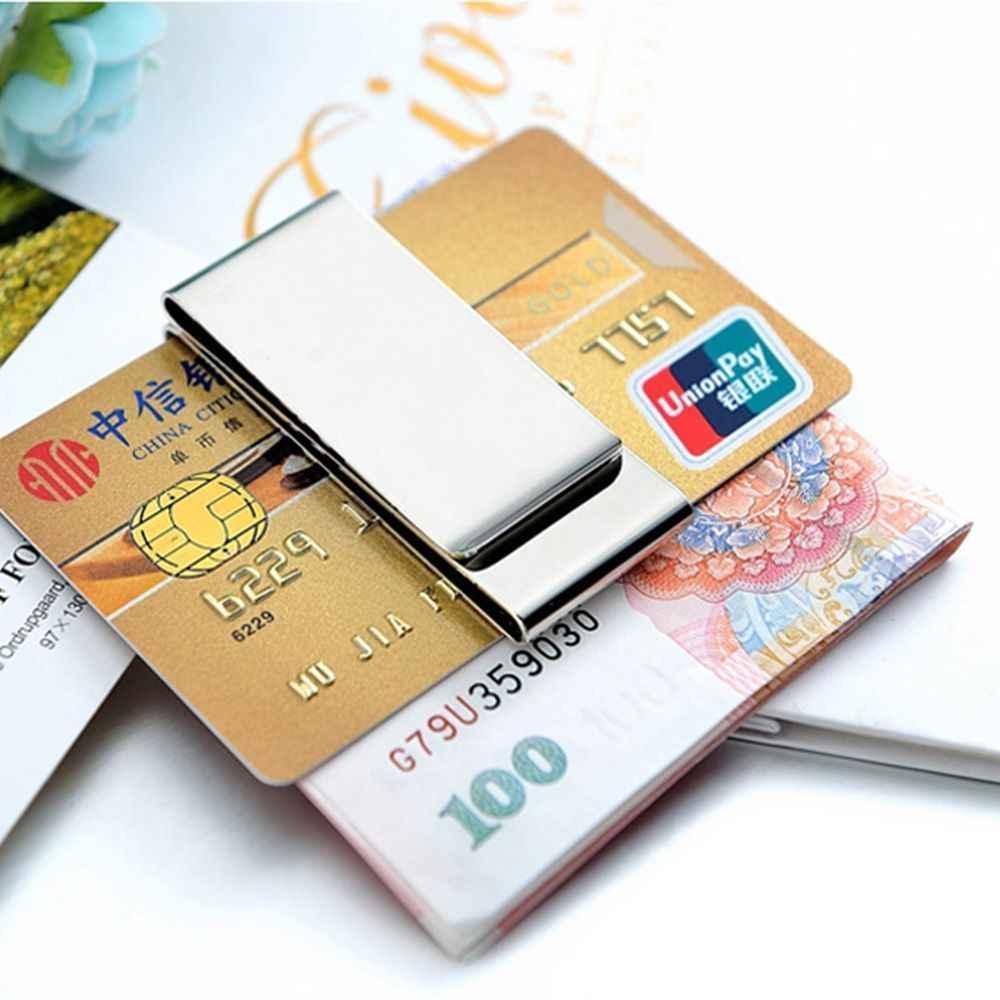 ISKYBOB Acero inoxidable Delgado doble cara hombres mujeres dinero Clip cartera Metal tarjeta de crédito dinero titular billetes acero Clip abrazadera