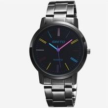2016 Vente Chaude Robe Black Watch Boîtier En Acier Inoxydable Quartz Montre Genève Coloré Casual Montres Femmes Unisexe Heures Dames Horloge