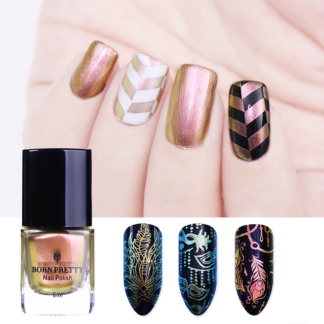 BORN PRETTY Rose Gold Chameleon Stamping Polish Colorful Nail Art ...
