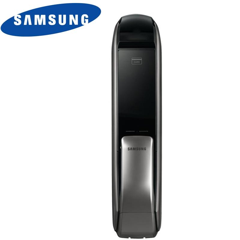 SAMSUNG SHP-DP727 Keyless BlueTooth PUSH PULL Two Way Keyless Door Lock English Version Big Mortise Silver Color