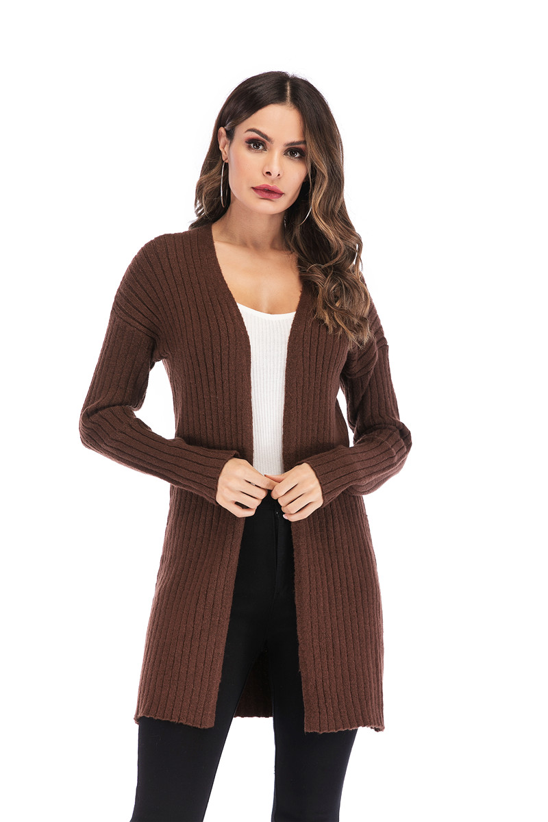 Fall Winter Cute Knitted Middle Long Ribbed Cardigan Dress for Women Kawaii Ladies Knit Drop Shoulder Sweater Coat Oversized S-L 20