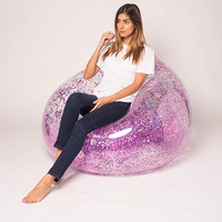Folding Inflatable Sofa Fast Inflatable Lounger Colorful Glitter Lazy Bag Sofa High Quality Outdoor Sleeping Bag Bed Air Chair