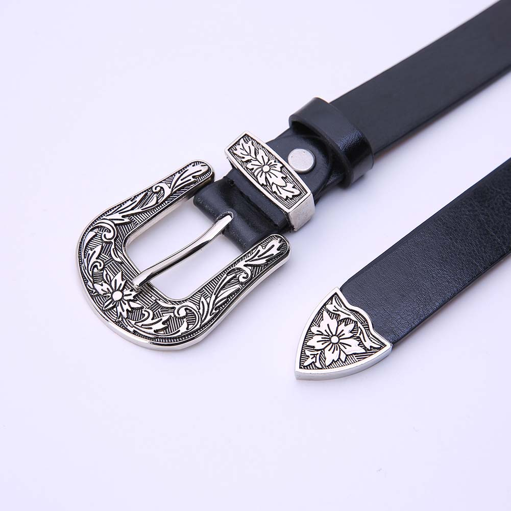Fashion Women   Belts   Leather Carving Flower Jeans   Belt   Decoration Single Head Buckle Ladies Retro Waistband Wide Sash FDC99