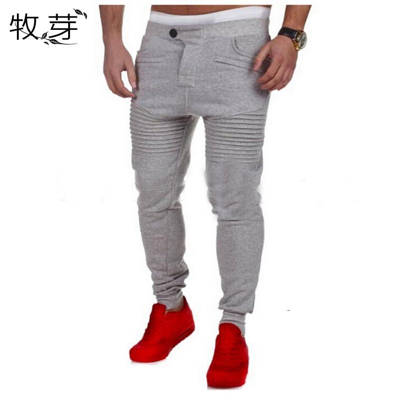 Mens fitness explosion casual pants pants men stovepipe stripe stitching design Men Skinny sweatpants joggers pants