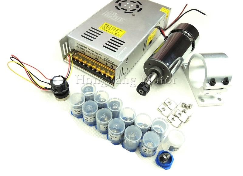 DC12-48V 0.3kw spindle motor ER11 chuck CNC 300W Spindle Motor+52mm mount bracket+Power Supply speed governor+13pcs ER11 Chuck