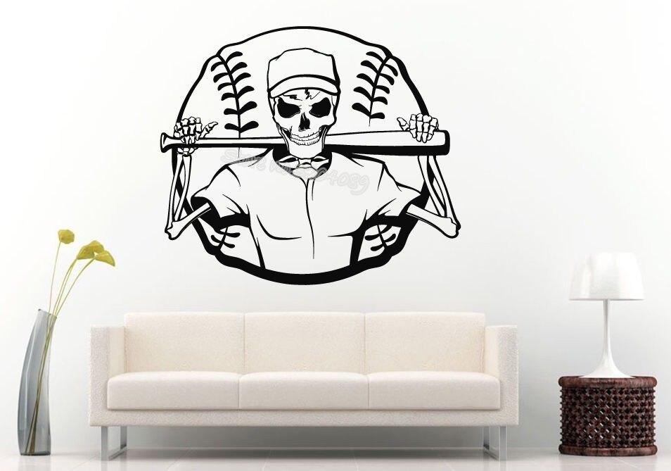 Baseball Player Cartoon Skeleton Sport Wall Sticker Skull