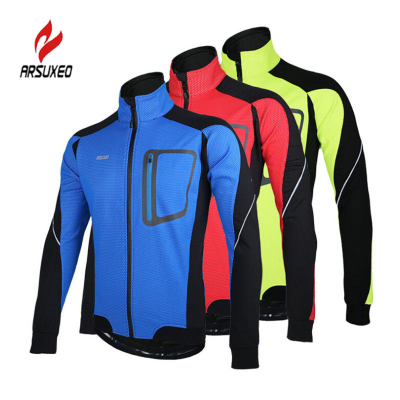 ARSUXEO 3 Color Unisex Winter Windproof Fleece Thermal Cycling Long Sleeve Jacket Outdoor Sports MTB Bicycle Clothing Jersey@  wosawe outdoor sports windproof winter long sleeve cycling jacket unisex fleece thermal mtb riding bike jersey men s coat