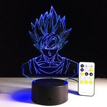 Dragon Ball Z Figure 3D Led Table Lamp Flash Super Saiyan Goku Vegeta Effect Colorful Acrylic Visual Illusion USB LED Lights
