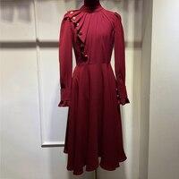 Весенние женские платья до середины икры 2019 модное Роскошное винтажное платье с длинным рукавом и круглым вырезом женское однотонное плать