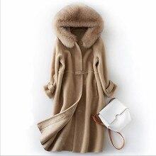 Winter Women Real Fur Coat Female Long Wool Sheepskin Natural High Quality Outerwear Wool fur fox fur hooded Warm Ladies Jacket стоимость