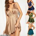 Женское атласное ночное белье, гладкое сексуальное дамское белье, костюм, платье, ночная рубашка, халат, S-xl