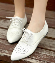 Große größe 34-46 damen Wohnungen Echte Kuh Leder Oxford Schuhe Für Frauen Wohnungen Brogue Schuhe Sapatos Feminino Sapatilhas Zapatos Mujer