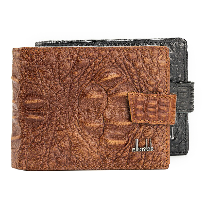 Mode Alligator Grain Echtes Leder Männer Brieftaschen 3 Falten Schwarz Braun Farben Münze Ändern Geldbörse Geldbörse Carteira Kostenloser Versand
