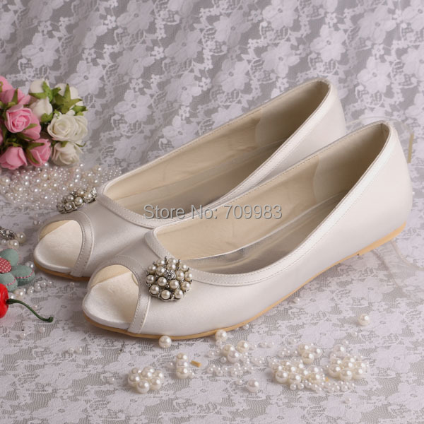 d17cfa0fe82e Custom Handmade Peep Toes Women Ballet Flat Wedding Bride Casual Shoes with  Pearl