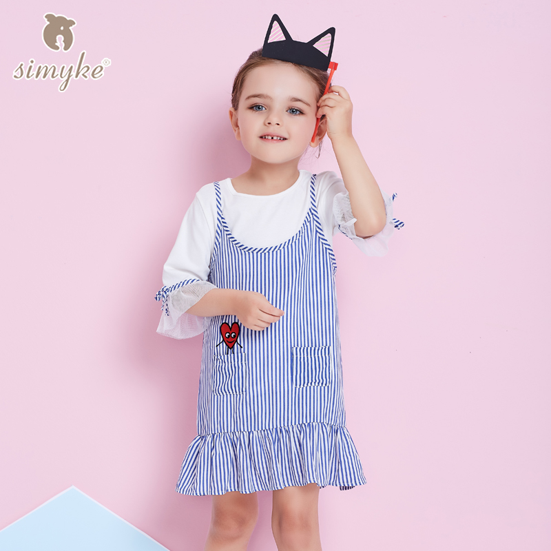 Simyke Girls Dress Sets 2018New 2pcs Set for Girl White Shirts +Striped Dress Toddler Girl Spring Set Children's Clothes W8300 kids dress set for girls dress shirts 2pcs sets clothes set for big teenager clothing girls princess dress h92