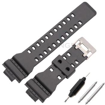 Ремешок для часов из силиконовой резины 16 мм, подходит для Casio G Shock, сменные Черные Водонепроницаемые ремешки для часов, аксессуары