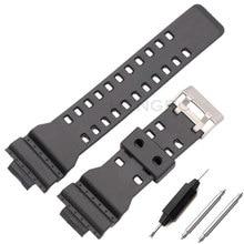 592c61570d89 16 milímetros de Borracha de Silicone Watch Band Strap Fit For Casio G de  Choque de Substituição Preto À Prova D  Água Pulseiras.