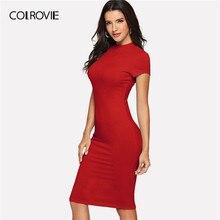 d57455d55c0138 COLROVIE czerwone kolana długość odzież robocza Bodycon biuro sukienka  kobiety 2019 wiosna fioletowy krótkim rękawem ołówek Midi.