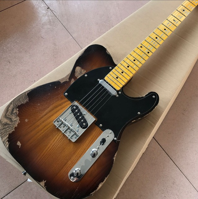 New style retro Guitar, handmade relic electric guitar, maple fingerboard,high quality Guitar - Sunburst