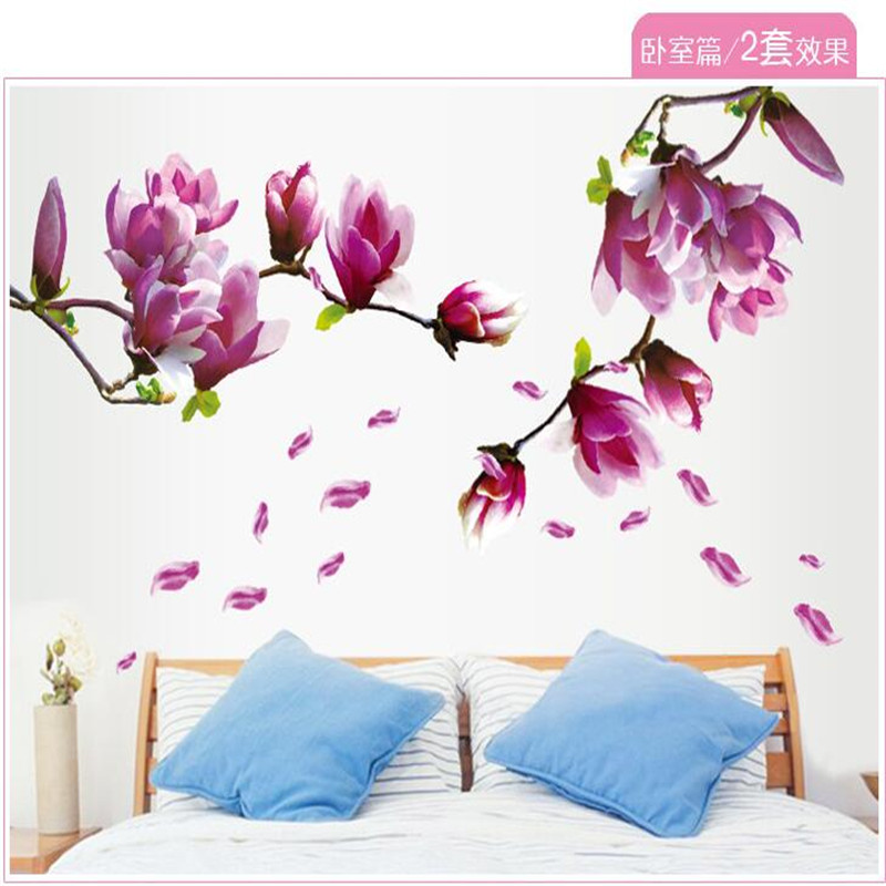 Romantic magnolia Wall Stickers DIY  TV/Sofa Background Home Mural Bedroom Living Room warm decoration AY9157