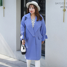Winter New Large Size Women's Korean Version Of The Ladies Wind Wool Coat Plus Fertilizer To Increase Multi-color Fashion new product plus fertilizer to increase windbreaker british fashion coat woven solid color trend loose women s long coat