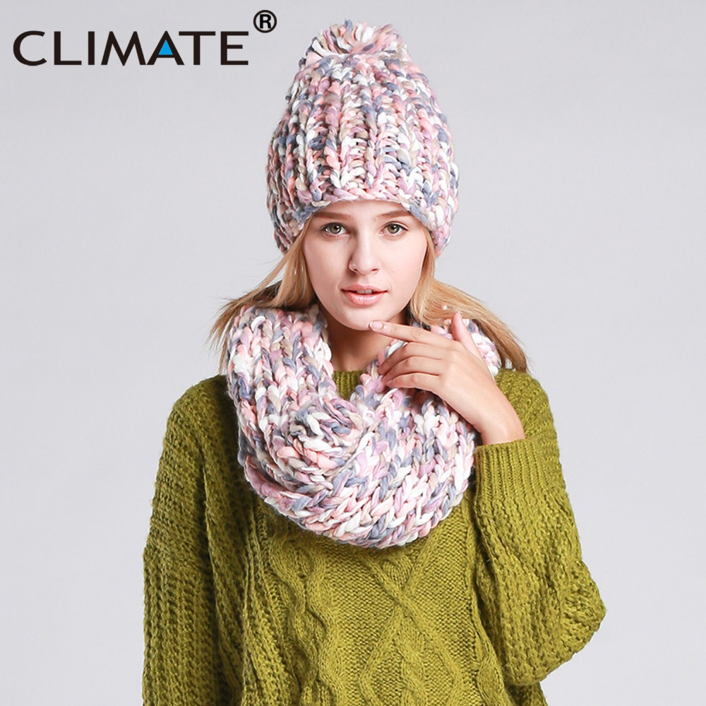 CLIMATE Women Winter Hat And Scarf Set Warm Girls Lady Knit Pompom Beanie Sacrf Sets Women Bonnet Collar Pom Hat Scarf Hat Sets