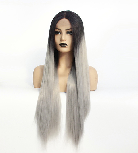 Long Middle Part Wig Ombre Grey Lace Front Wig for Women or Girls Cosplay Daily Party Heat Resistant Full Wigs Straight Real Gray Fiber Wig (Not Human Hair) Half Hand Tied-13