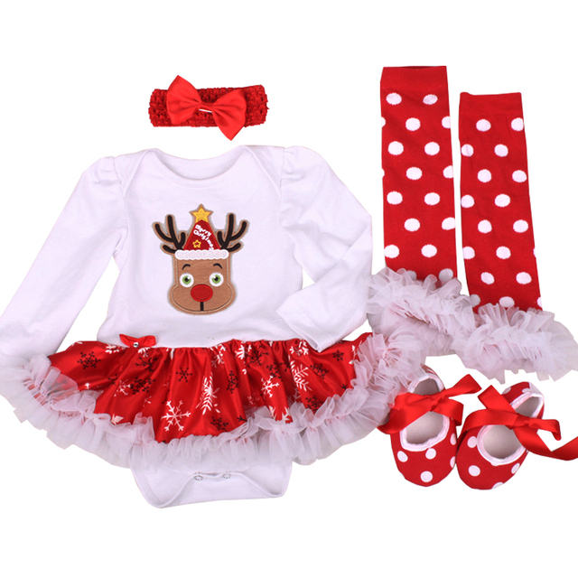 208bfe6ec My First Christmas Baby Girl Dress Romper Xmas Reindeer Newborn Clothes  Santa Infant Bebe Clothing Snowflake Kid Outfit 4PCS Set