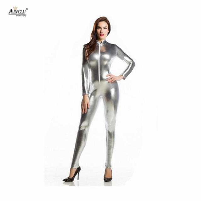 764339afc1d5 Ainclu Spandex Glue Bodysuit Lycra Shiny Catsuit Sexy Silver Zentai for  Adults and kids Outcrop Body Suit Hallween Costume