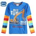 Retail niños casual camiseta nova niños ocasional 100% algodón camiseta de los niños ropa de otoño/primavera bebé ropa t camisa a5718