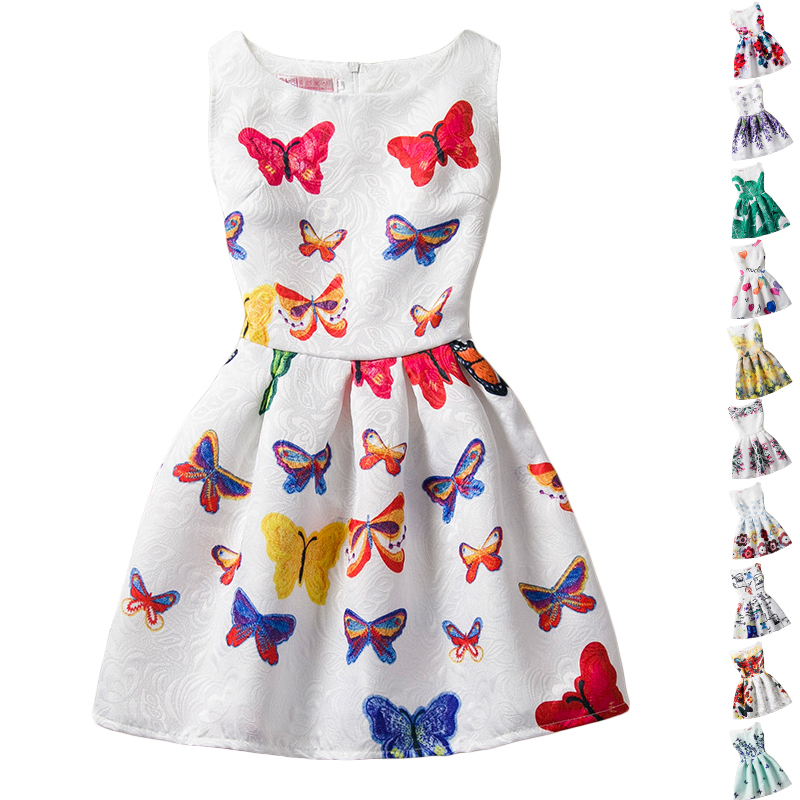 Kids Girls Flower Dress 2017 New Arrival Summer Sleeveless Floral Party Dress Butterfly Causal Infant Frocks Age For 6-12Y GD148 distrressed girls dress summer 2016 new arrival pink ripped denim dress for kids sleeveless solid casual girls overalls dress
