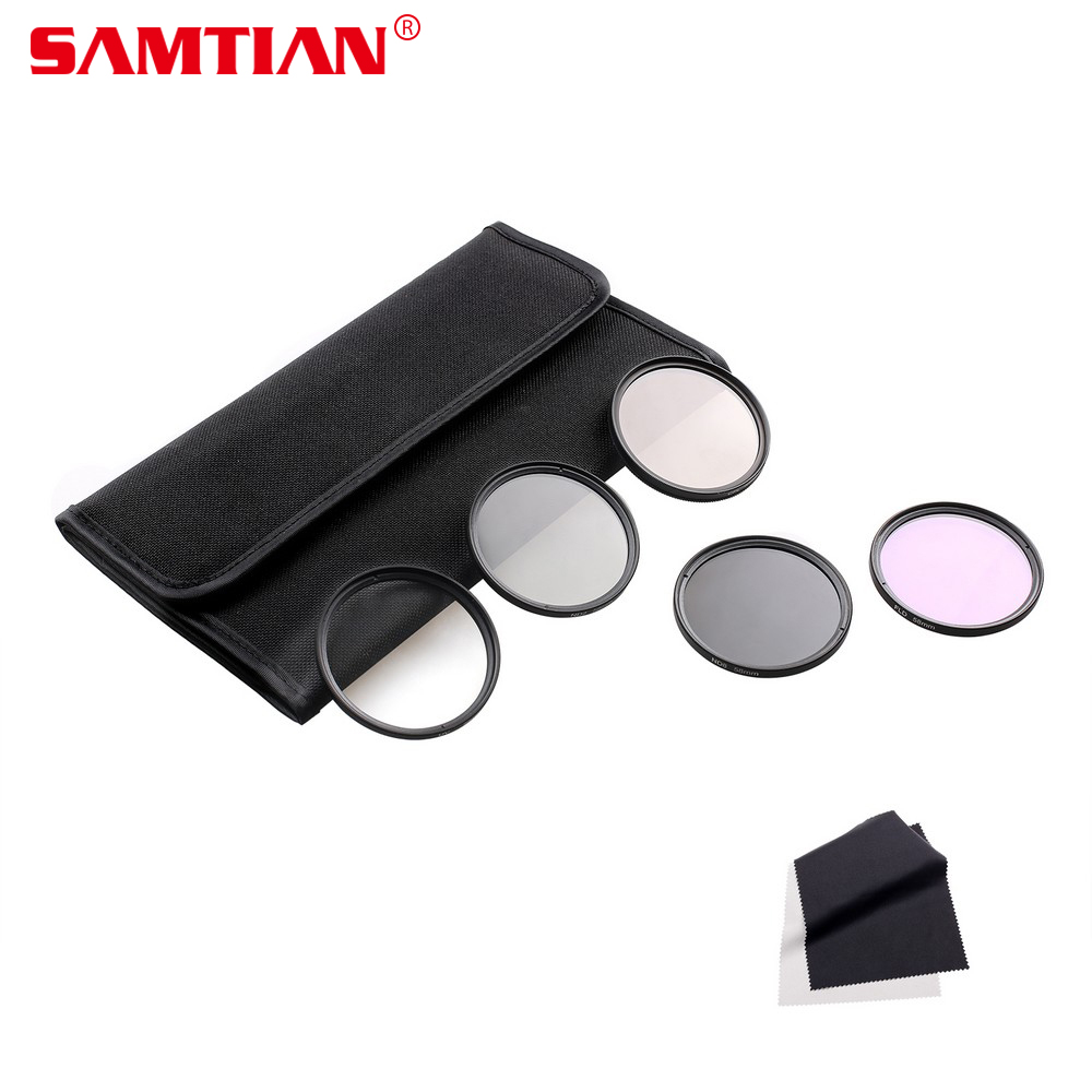 SAMTIAN 49MM 52MM 55MM 58MM 62MM 67MM 72MM 77MM UV CPL FLD ND2 ND4 ND8 ND Neutral Density Lens Filter Kit For Canon Nikon Sony