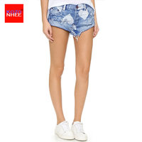 Summer Ripped Denim Shorts For Women With High Waist Loose Heart Shaped Denim Shorts Jeans For