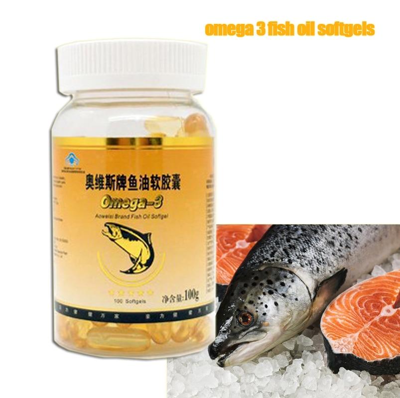 High quality Regulate Blood Fat nature deep sea 1000mg*100 softgels omega3 fish oil free shipping